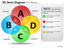 3D Venn Diagram 4 Pieces ppt 3