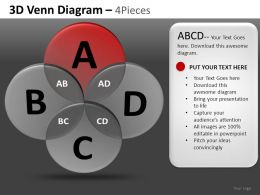 3D Venn Diagram 4 Powerpoint Presentation Slides DB