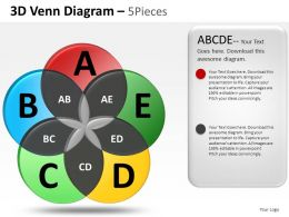 3d Venn Diagram 5 Pieces Powerpoint Presentation Slides