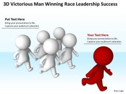3D Victorious Man Winning Race Leadership Success Ppt Graphic Icon