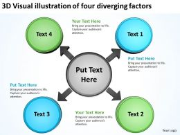 3d visual illustration of four diverging factors Circular Network PPT PowerPoint templates