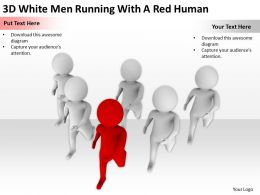 3D White Men Running With A Red Human Ppt Graphics Icons Powerpoint