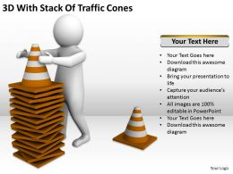 3D With Stack Of Traffic Cones Ppt Graphics Icons PowerPoint