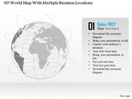 3d World Map With Multiple Business Locations Ppt Presentation Slides