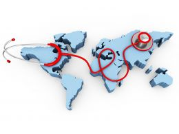 3D World Map With Stethoscope Stock Photo