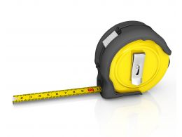 3D Yellow Black Measuring Tape For Engineering Stock Photo