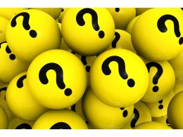 3d Yellow Spheres With Question Marks Stock Photo