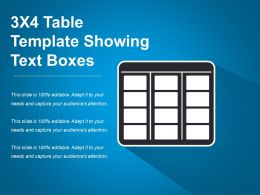 3x4 Table Template Showing Text Boxes