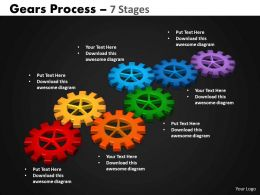 44 Gears Process 7 Stages Style 2 Powerpoint