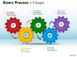 45 Gears Process 5 Stages Style 1 Powerpoint Slides