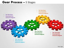 45 Gears Process 5 Stages Style 2 Powerpoint