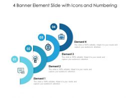 4 Banner Element Slide With Icons And Numbering