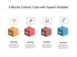 4 Blocks Colored Cube With Speech Bubbles