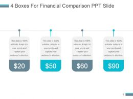 4 Boxes For Financial Comparison Ppt Slide