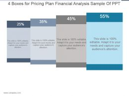 4 Boxes For Pricing Plan Financial Analysis Sample Of Ppt