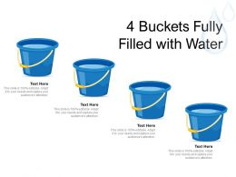 4 Buckets Fully Filled With Water
