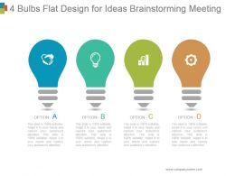 4 Bulbs Flat Design For Ideas Brainstorming Meeting Powerpoint Templates