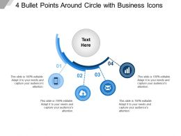 4 Bullet Points Around Circle With Business Icons