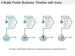 4 Bullet Points Business Timeline With Icons