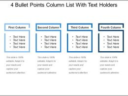 4 Bullet Points Column List With Text Holders