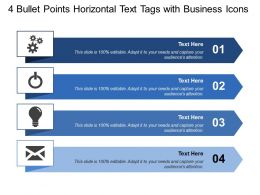 4 Bullet Points Horizontal Text Tags With Business Icons