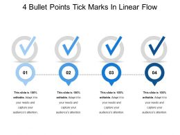 4 Bullet Points Tick Marks In Linear Flow