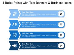 4 Bullet Points With Text Banners And Business Icons
