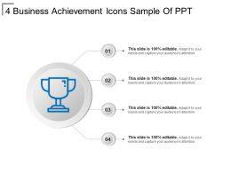 4 Business Achievement Icons Sample Of Ppt