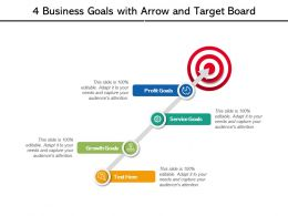 4 Business Goals With Arrow And Target Board