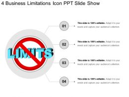 4 Business Limitations Icon Ppt Slide Show