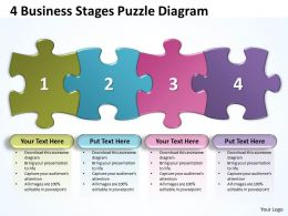 4 Business Stages Puzzle Diagram Powerpoint templates 0812