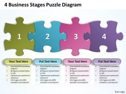 4 Business Stages Puzzle Diagram Powerpoint templates ppt presentation slides 0812