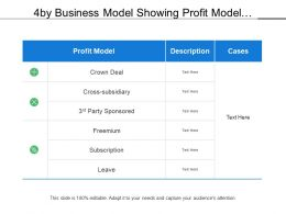 4 By Business Model Showing Profit Model Description Cases