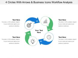 4 Circles With Arrows And Business Icons Workflow Analysis