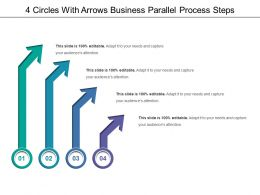 4 Circles With Arrows Business Parallel Process Steps