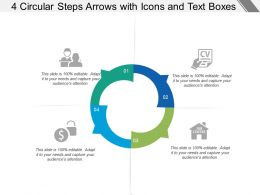 4 Circular Steps Arrows With Icons And Text Boxes