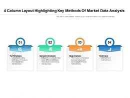 4 Column Layout Highlighting Key Methods Of Market Data Analysis