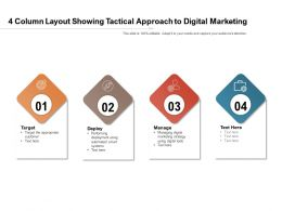 4 Column Layout Showing Tactical Approach To Digital Marketing