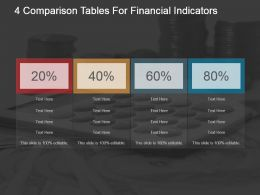4 Comparison Tables For Financial Indicators Powerpoint Graphics