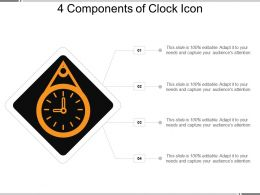 4 Components Of Clock Icon Powerpoint Slide Designs
