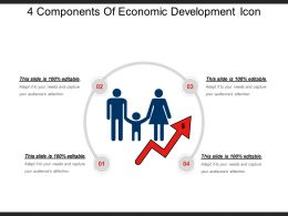 4 Components Of Economic Development Icon Ppt Design