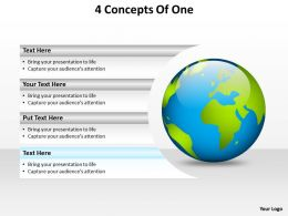 4 concepts of one with globe earth powerpoint diagram templates graphics 712