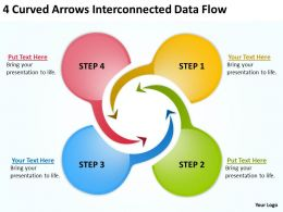 4_curved_arrows_interconnected_data_flow_ppt_powerpoint_slides_Slide01