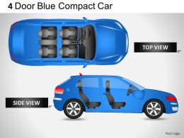 4 Door Blue Car Top View Powerpoint Presentation Slides