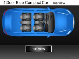 4 Door Blue Car Top View Powerpoint Presentation Slides DB