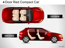4 Door Red Car Side View Powerpoint Presentation Slides