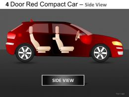 4 Door Red Car Side View Powerpoint Presentation Slides DB