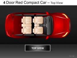 4 Door Red Car Top View Powerpoint Presentation Slides DB