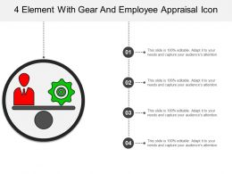 4 Element With Gear And Employee Appraisal Icon