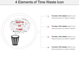 4 Elements Of Time Waste Icon PowerPoint Slide Deck